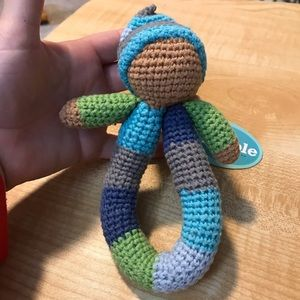 Blue and Green ring rattle by Pebble, NWT